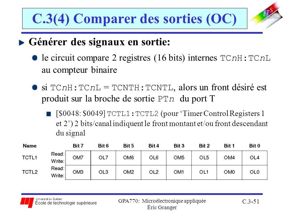 Université du Québec École de technologie supérieure GPA770: Microélectronique appliquée Éric Granger C.3-51 C.3(4) Comparer des sorties (OC) Générer