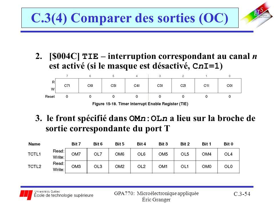 Université du Québec École de technologie supérieure GPA770: Microélectronique appliquée Éric Granger C.3-54 2.[$004C] TIE – interruption correspondan