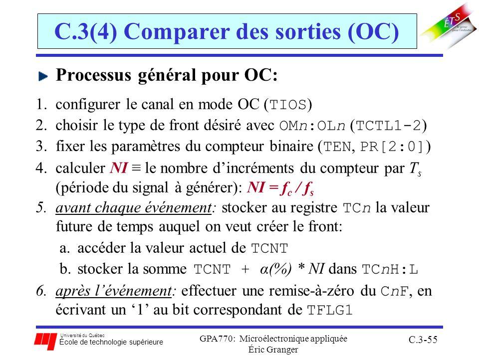 Université du Québec École de technologie supérieure GPA770: Microélectronique appliquée Éric Granger C.3-55 C.3(4) Comparer des sorties (OC) Processu