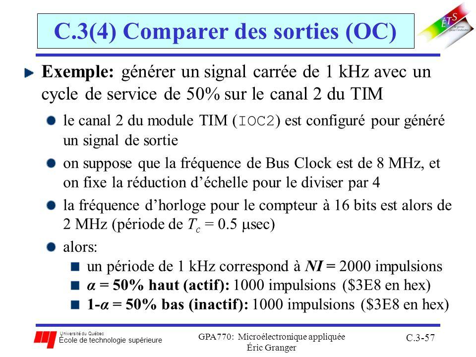 Université du Québec École de technologie supérieure GPA770: Microélectronique appliquée Éric Granger C.3-57 C.3(4) Comparer des sorties (OC) Exemple: