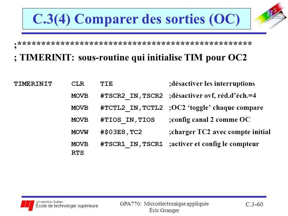 Université du Québec École de technologie supérieure GPA770: Microélectronique appliquée Éric Granger C.3-60 C.3(4) Comparer des sorties (OC) ;*******