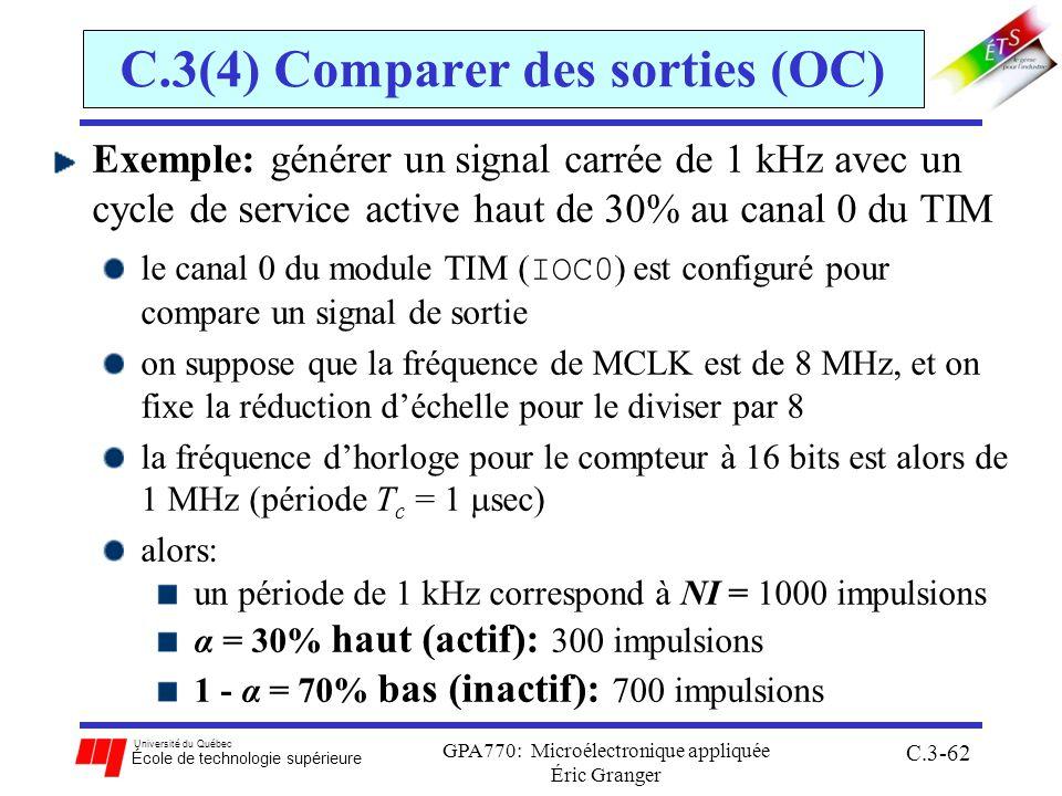 Université du Québec École de technologie supérieure GPA770: Microélectronique appliquée Éric Granger C.3-62 C.3(4) Comparer des sorties (OC) Exemple: