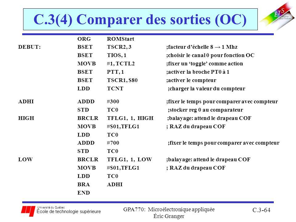 Université du Québec École de technologie supérieure GPA770: Microélectronique appliquée Éric Granger C.3-64 C.3(4) Comparer des sorties (OC) ORG ROMS