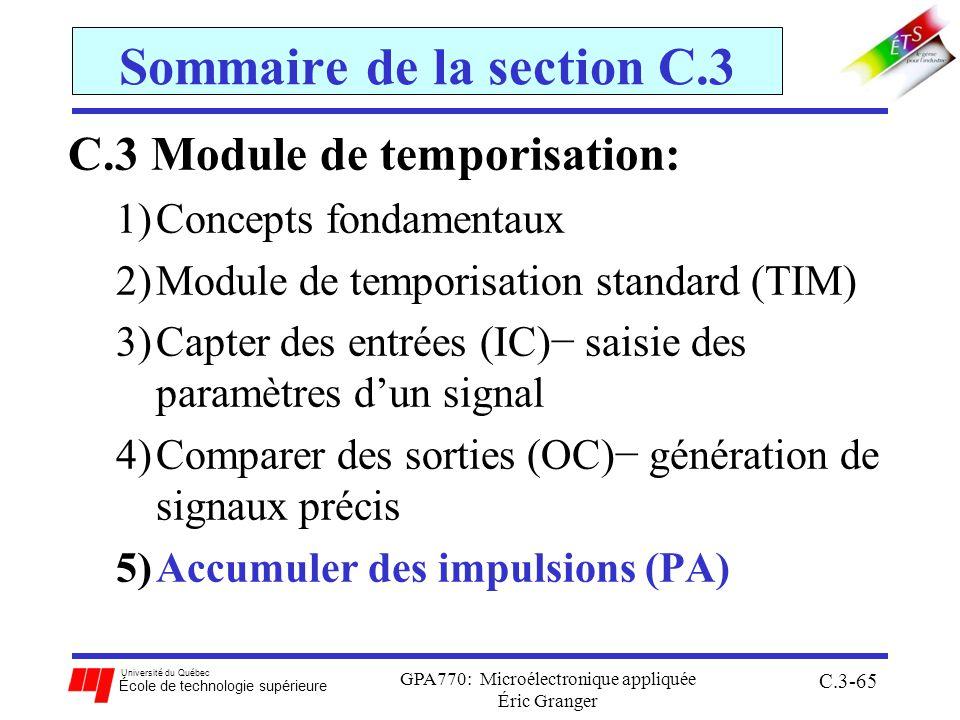 Université du Québec École de technologie supérieure GPA770: Microélectronique appliquée Éric Granger C.3-65 Sommaire de la section C.3 C.3 Module de