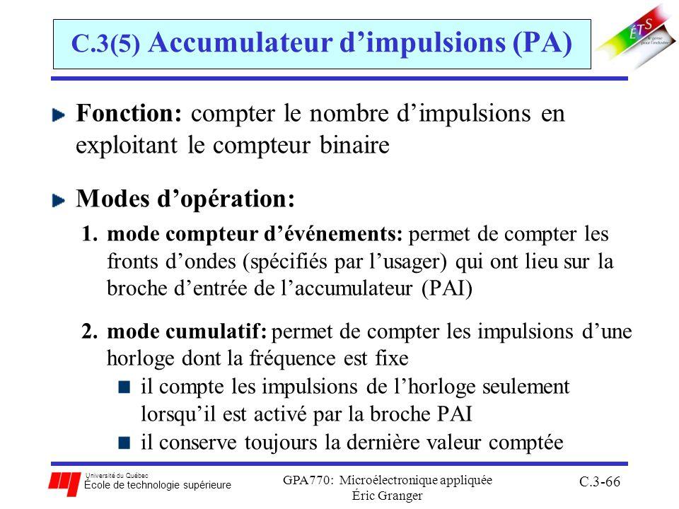 Université du Québec École de technologie supérieure GPA770: Microélectronique appliquée Éric Granger C.3-66 C.3(5) Accumulateur dimpulsions (PA) Fonc