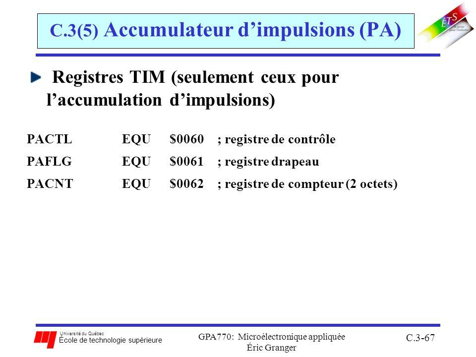 Université du Québec École de technologie supérieure GPA770: Microélectronique appliquée Éric Granger C.3-67 C.3(5) Accumulateur dimpulsions (PA) Regi