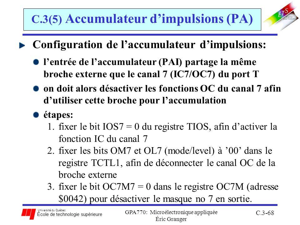 Université du Québec École de technologie supérieure GPA770: Microélectronique appliquée Éric Granger C.3-68 C.3(5) Accumulateur dimpulsions (PA) Conf