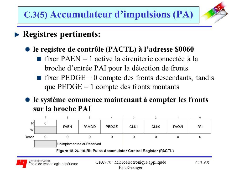 Université du Québec École de technologie supérieure GPA770: Microélectronique appliquée Éric Granger C.3-69 C.3(5) Accumulateur dimpulsions (PA) Regi