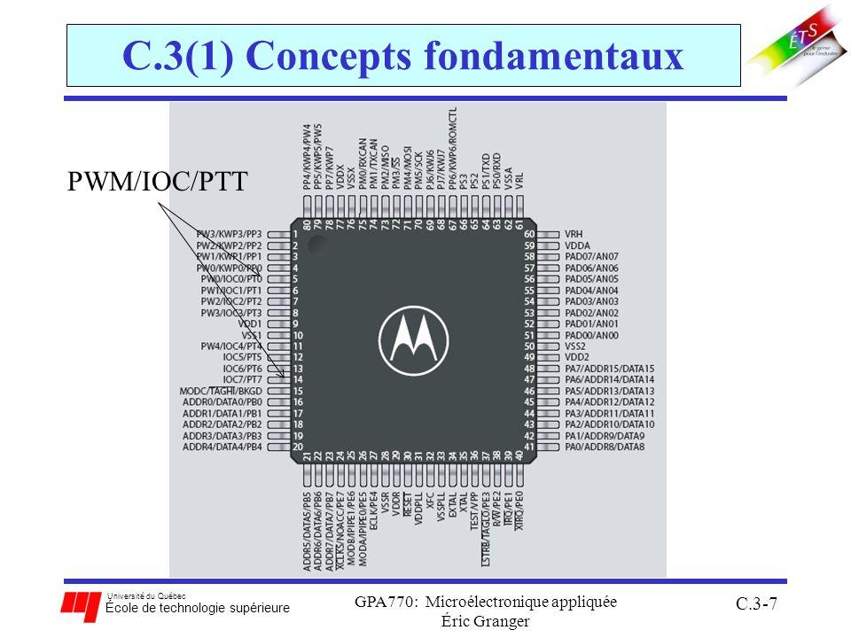 Université du Québec École de technologie supérieure GPA770: Microélectronique appliquée Éric Granger C.3-28 C.3(2) Module TIM Registres essentiels pour configurer le TIM: [$0044:$0045] TCNT(hi):(lo) (pour Timer Counter Register High/Low) contient la valeur du compteur binaire à 16 bits [$0060] PACTL (pour PA Control Register) PAEN doit être fixé à 1 afin dactiver le système daccumulation dimpulsions CLK[1 : 0] offrent dautres alternatives comme base de temps à TCNT [$0040] TIOS (Timer IC/OC Select) permet dindiquer quels canaux sont en IC ou en OC
