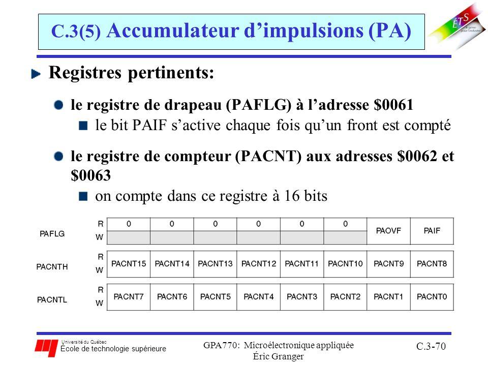 Université du Québec École de technologie supérieure GPA770: Microélectronique appliquée Éric Granger C.3-70 C.3(5) Accumulateur dimpulsions (PA) Regi