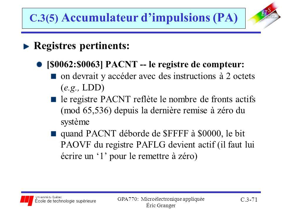 Université du Québec École de technologie supérieure GPA770: Microélectronique appliquée Éric Granger C.3-71 C.3(5) Accumulateur dimpulsions (PA) Regi