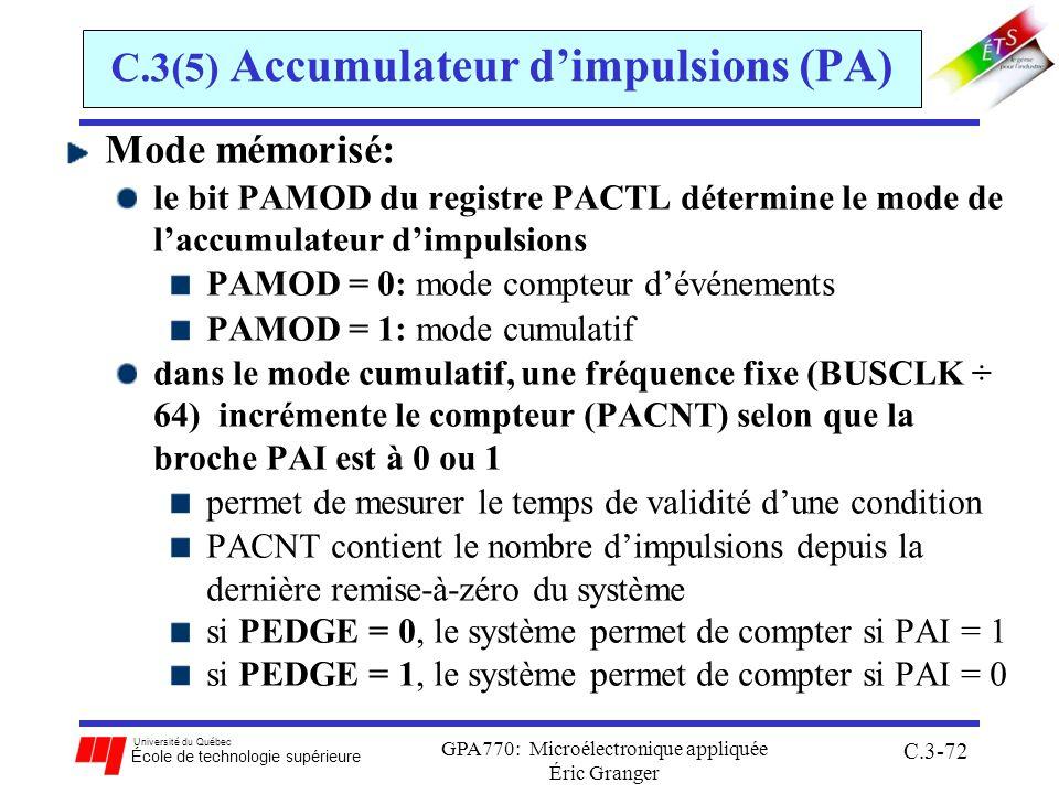 Université du Québec École de technologie supérieure GPA770: Microélectronique appliquée Éric Granger C.3-72 C.3(5) Accumulateur dimpulsions (PA) Mode