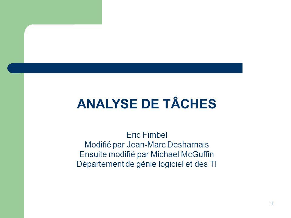 1 ANALYSE DE TÂCHES Eric Fimbel Modifié par Jean-Marc Desharnais Ensuite modifié par Michael McGuffin Département de génie logiciel et des TI