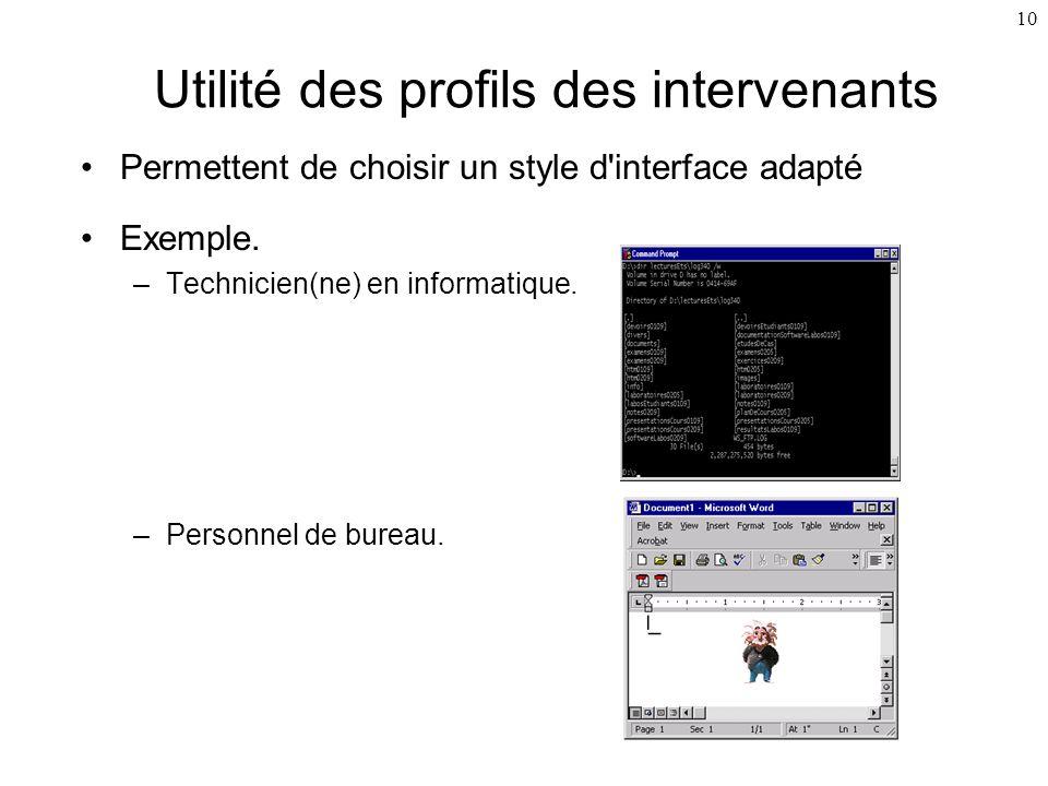 10 Utilité des profils des intervenants Permettent de choisir un style d'interface adapté Exemple. –Technicien(ne) en informatique. –Personnel de bure