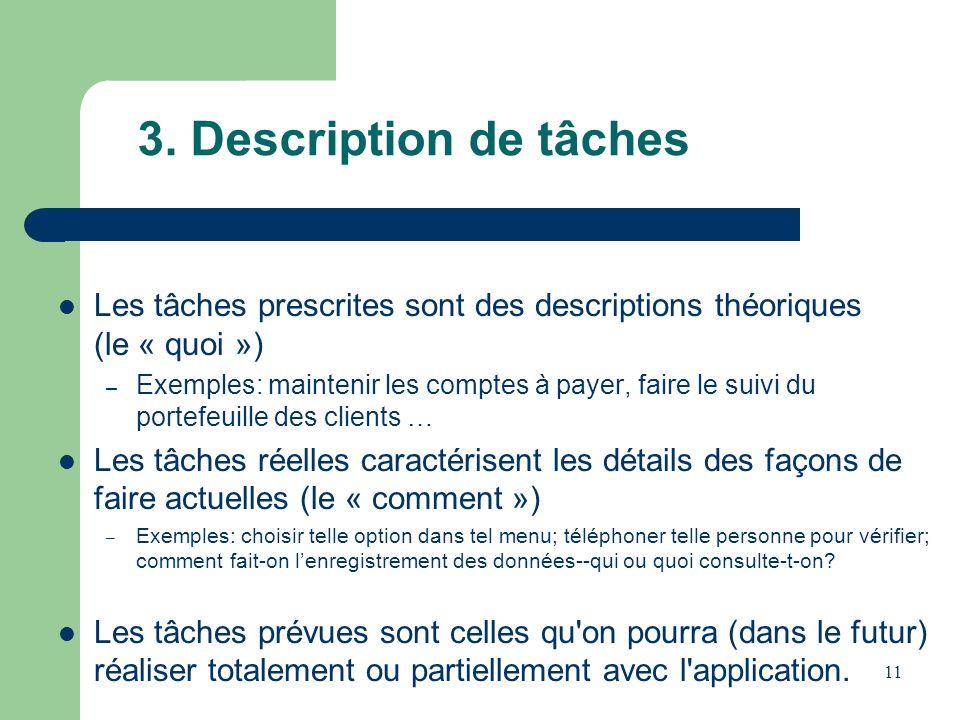 11 3. Description de tâches Les tâches prescrites sont des descriptions théoriques (le « quoi ») – Exemples: maintenir les comptes à payer, faire le s