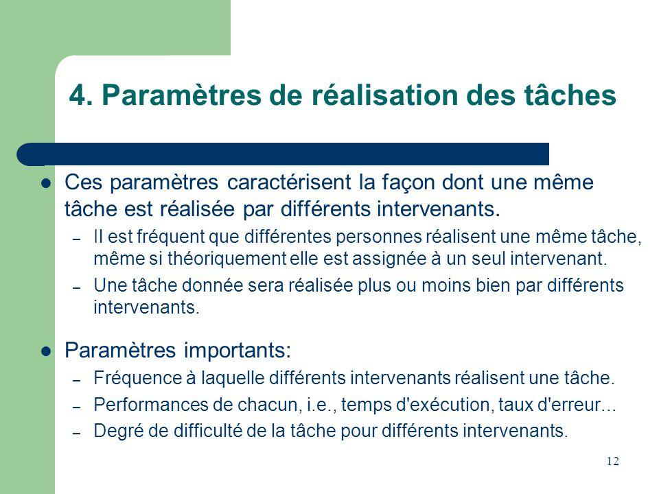 12 4. Paramètres de réalisation des tâches Ces paramètres caractérisent la façon dont une même tâche est réalisée par différents intervenants. – Il es