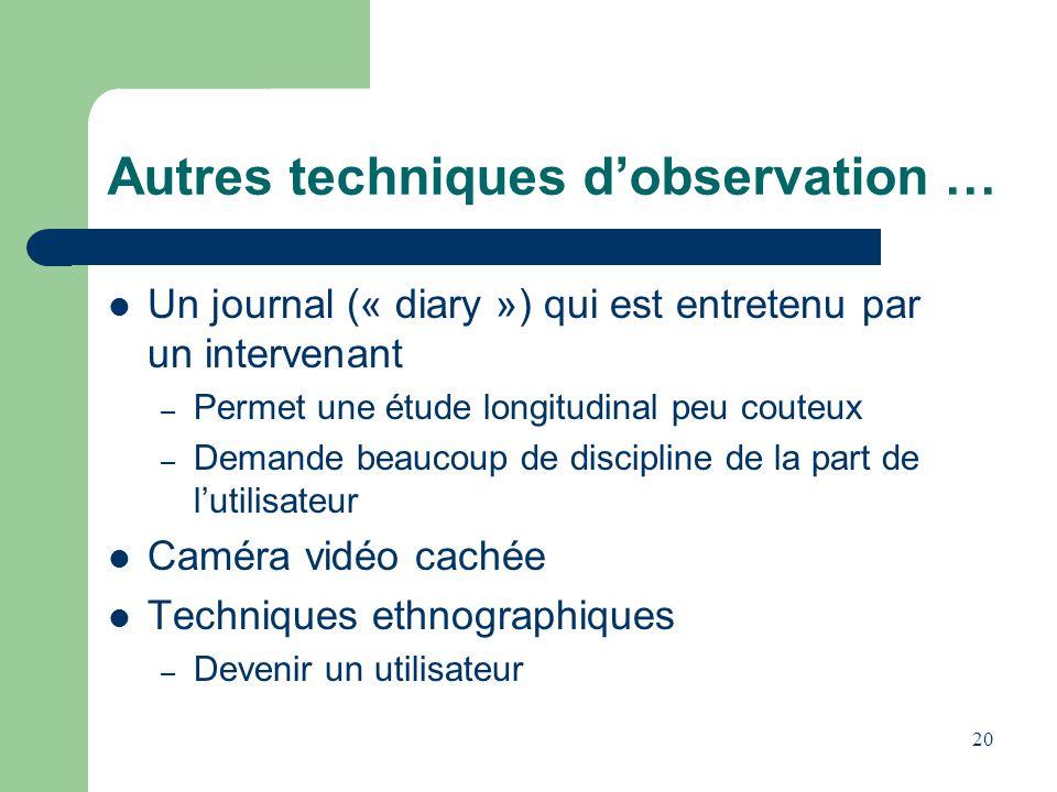 Autres techniques dobservation … Un journal (« diary ») qui est entretenu par un intervenant – Permet une étude longitudinal peu couteux – Demande bea
