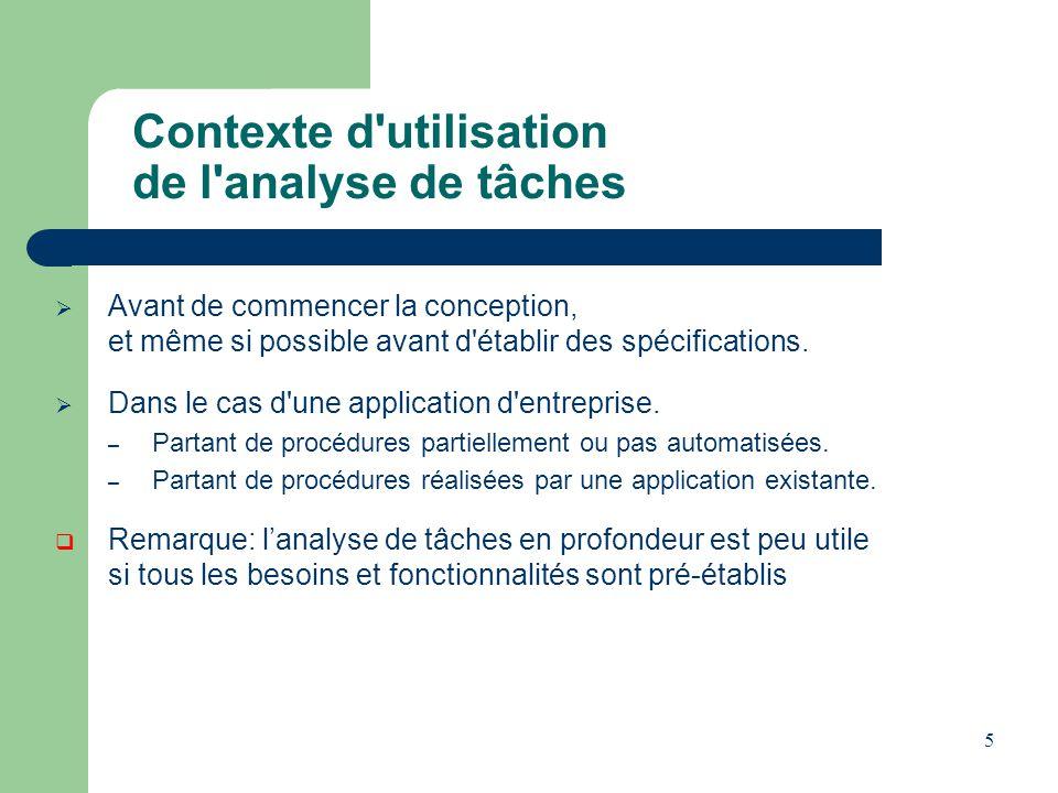5 Contexte d'utilisation de l'analyse de tâches Avant de commencer la conception, et même si possible avant d'établir des spécifications. Dans le cas