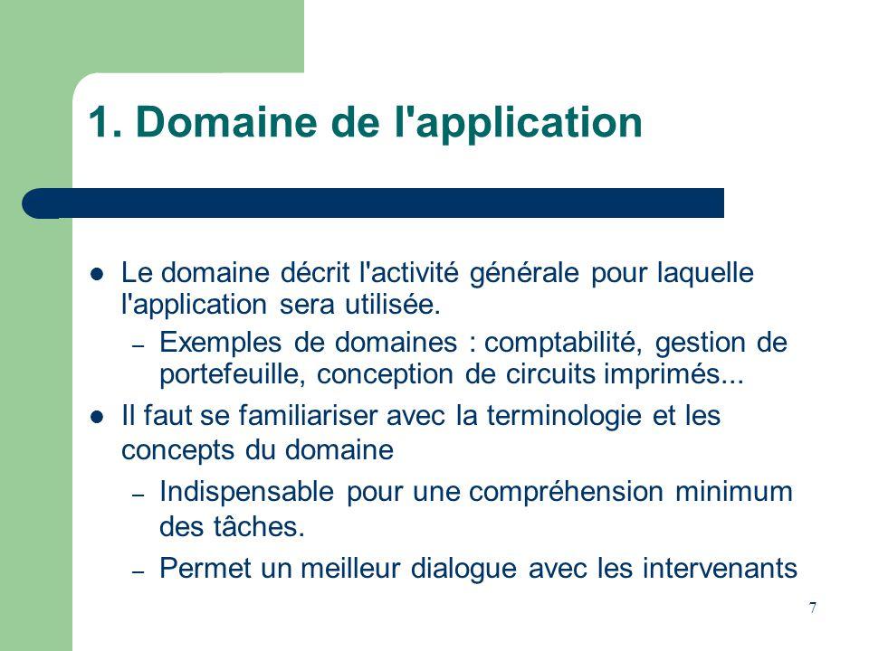 7 1. Domaine de l'application Le domaine décrit l'activité générale pour laquelle l'application sera utilisée. – Exemples de domaines : comptabilité,