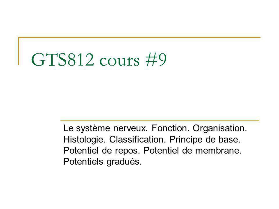GTS812 cours #9 Le système nerveux. Fonction. Organisation. Histologie. Classification. Principe de base. Potentiel de repos. Potentiel de membrane. P
