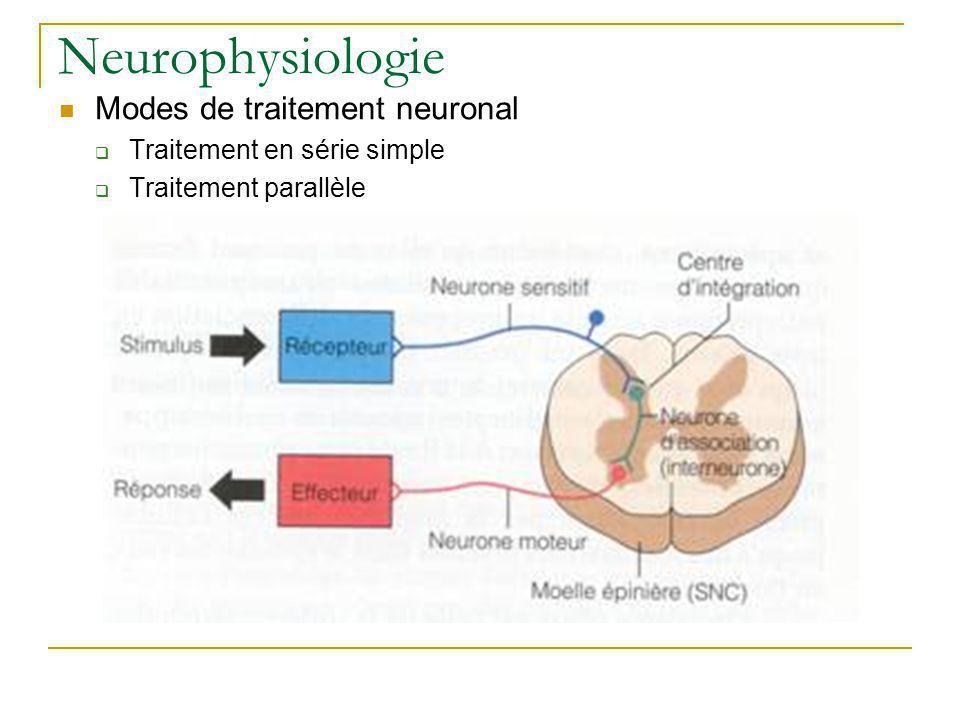 Neurophysiologie Modes de traitement neuronal Traitement en série simple Traitement parallèle