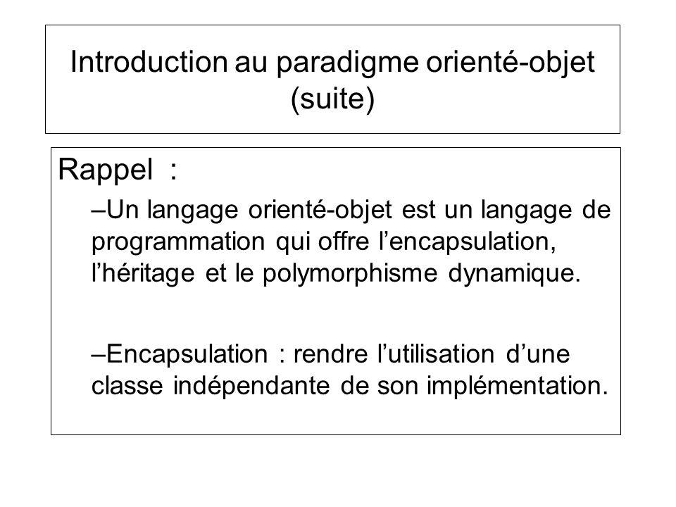 Introduction au paradigme orienté-objet (suite) Rappel : –Un langage orienté-objet est un langage de programmation qui offre lencapsulation, lhéritage et le polymorphisme dynamique.