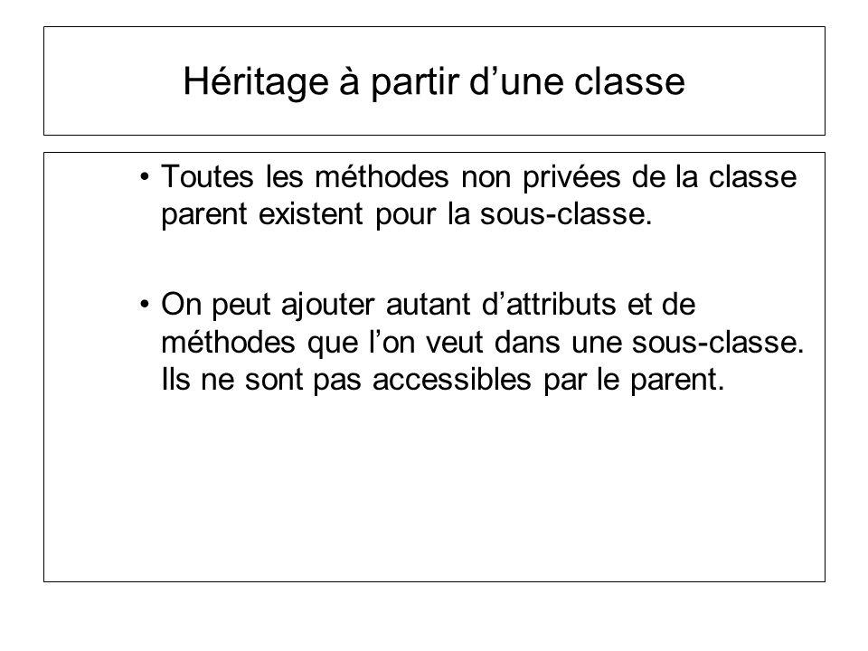 Héritage à partir dune classe Toutes les méthodes non privées de la classe parent existent pour la sous-classe.