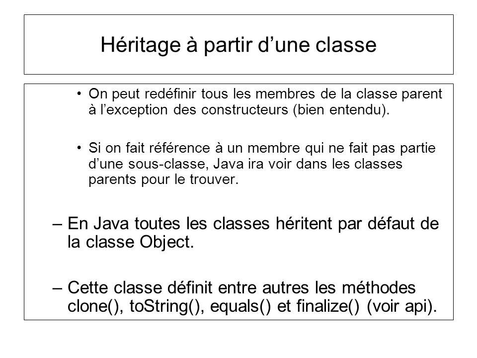 Héritage à partir dune classe On peut redéfinir tous les membres de la classe parent à lexception des constructeurs (bien entendu).