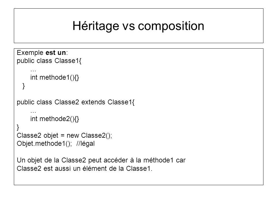Héritage vs composition Exemple est un: public class Classe1{...