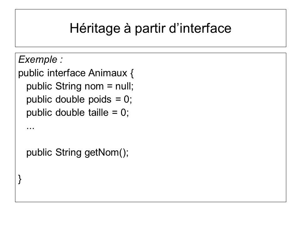 Héritage à partir dinterface Exemple : public interface Animaux { public String nom = null; public double poids = 0; public double taille = 0;...