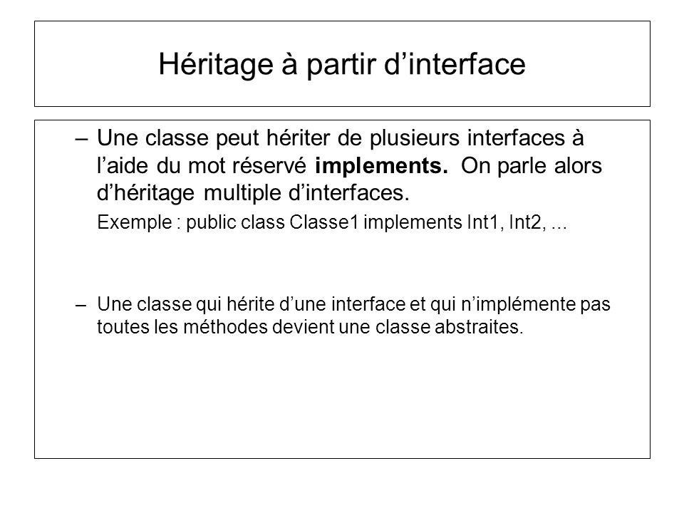 Héritage à partir dinterface –Une classe peut hériter de plusieurs interfaces à laide du mot réservé implements.
