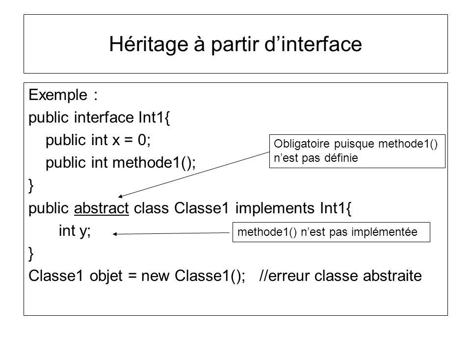 Héritage à partir dinterface Exemple : public interface Int1{ public int x = 0; public int methode1(); } public abstract class Classe1 implements Int1{ int y; } Classe1 objet = new Classe1(); //erreur classe abstraite Obligatoire puisque methode1() nest pas définie methode1() nest pas implémentée