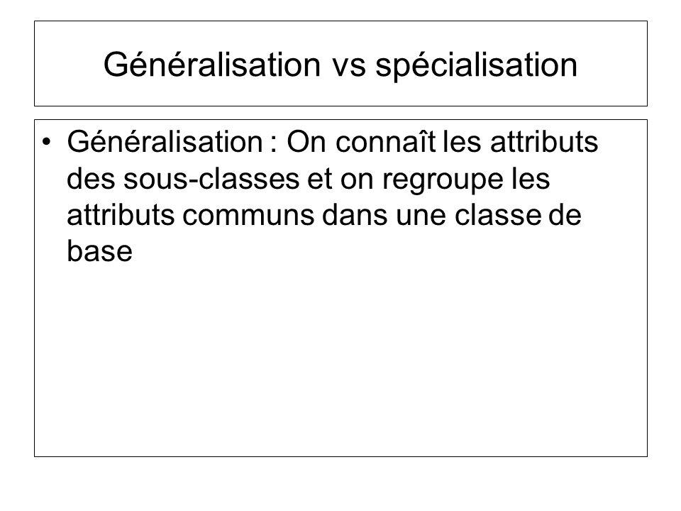 Généralisation vs spécialisation Généralisation : On connaît les attributs des sous-classes et on regroupe les attributs communs dans une classe de base