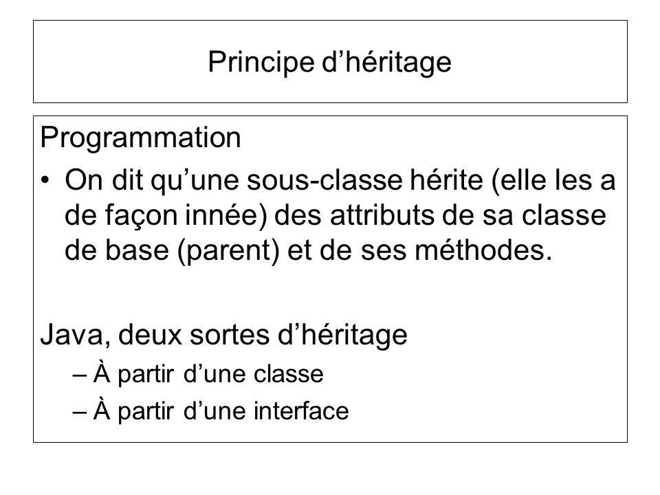 Principe dhéritage Programmation On dit quune sous-classe hérite (elle les a de façon innée) des attributs de sa classe de base (parent) et de ses méthodes.