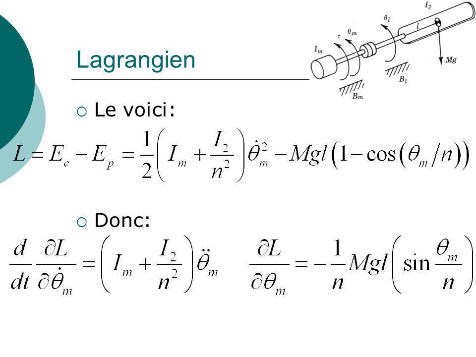 Lagrangien Le voici: Donc: