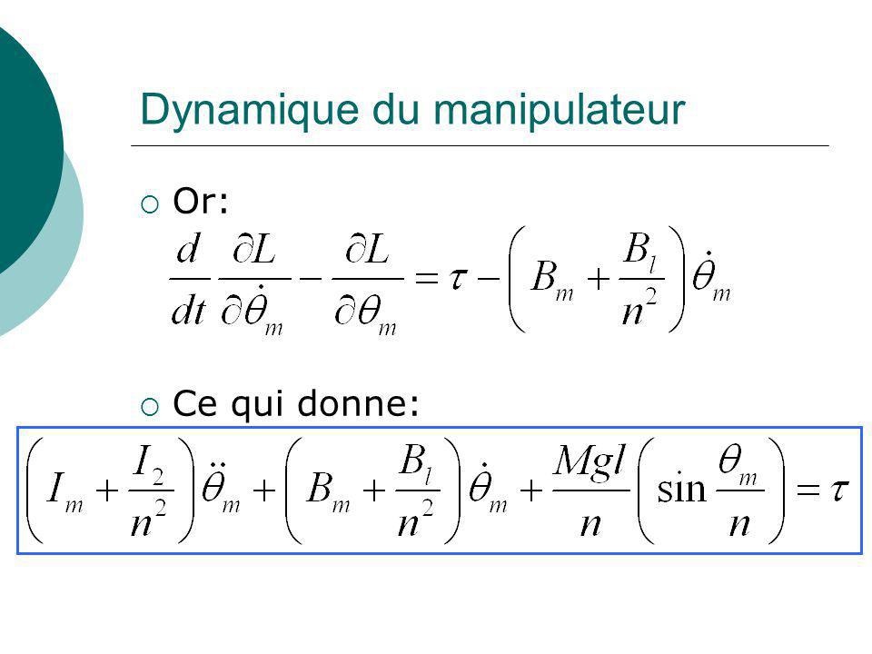 Dynamique du manipulateur Or: Ce qui donne: