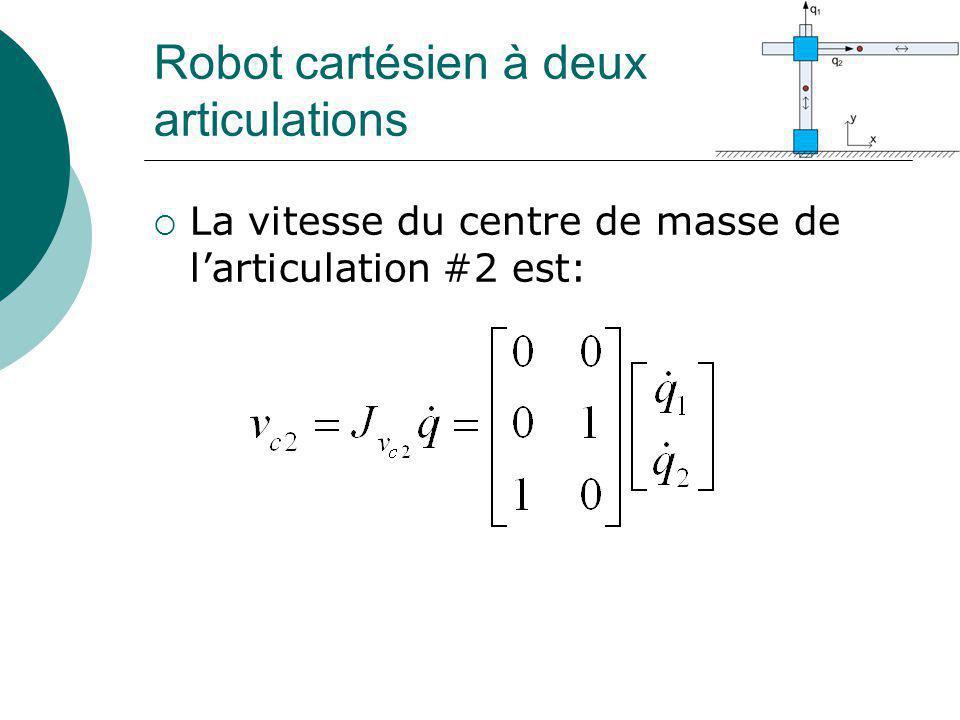 Robot cartésien à deux articulations La vitesse du centre de masse de larticulation #2 est: