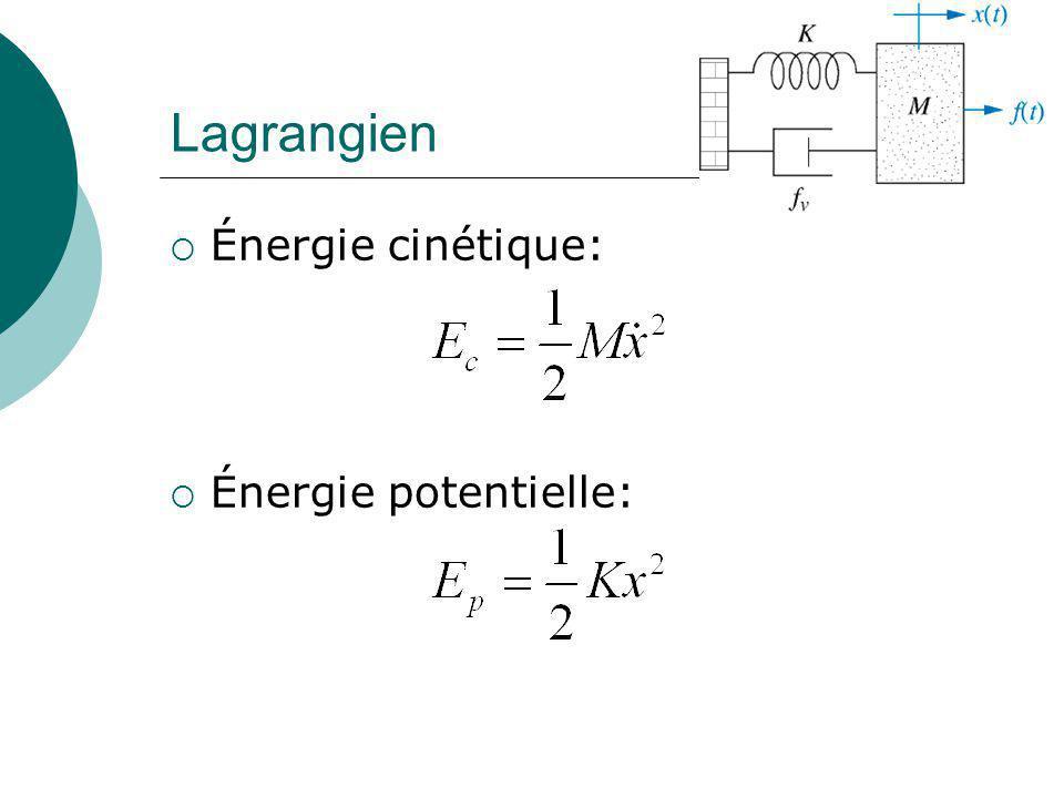 Système à 2 degrés de liberté Cette fois-ci, utilisons le Lagrangien: