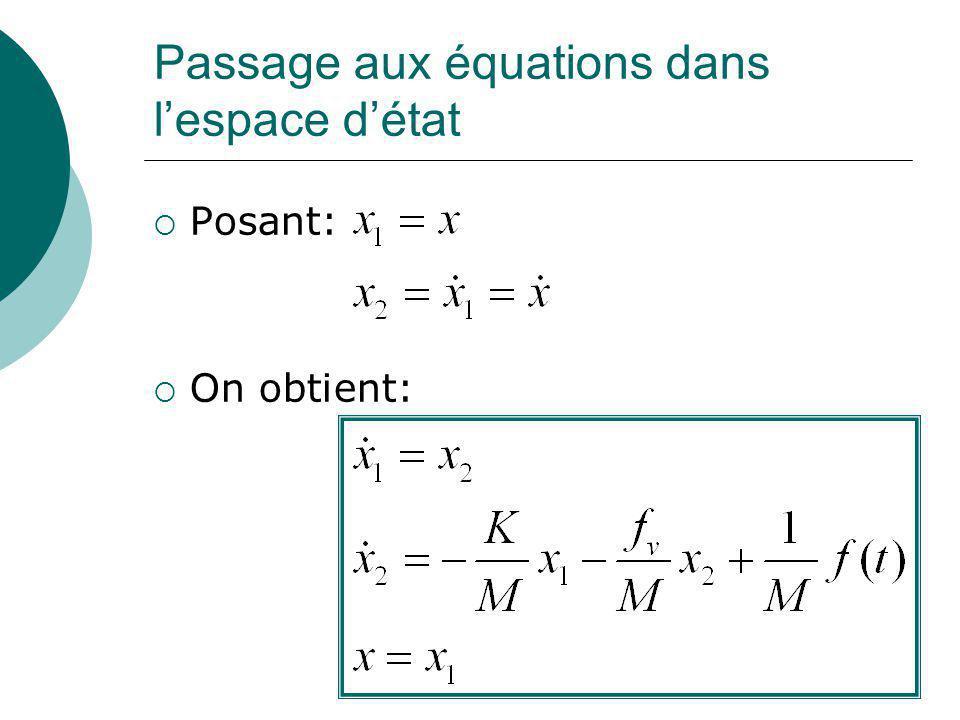Passage aux équations dans lespace détat Posant: On obtient: