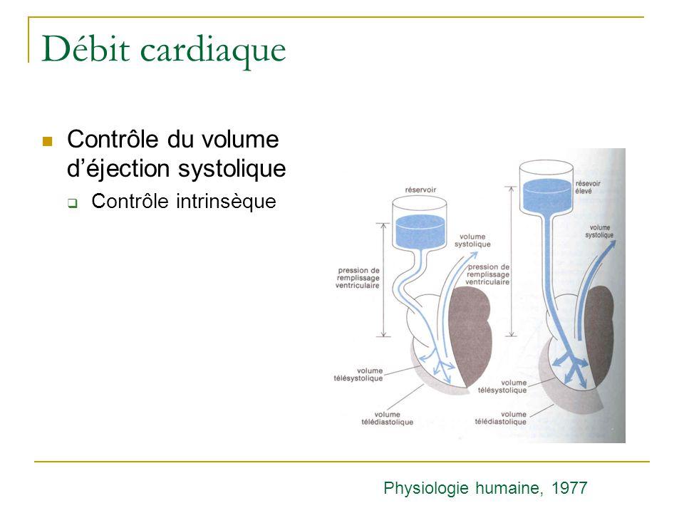Débit cardiaque Contrôle du volume déjection systolique Contrôle intrinsèque Physiologie humaine, 1977