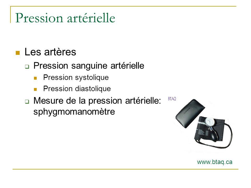 Pression artérielle Les artères Pression sanguine artérielle Pression systolique Pression diastolique Mesure de la pression artérielle: sphygmomanomètre www.btaq.ca