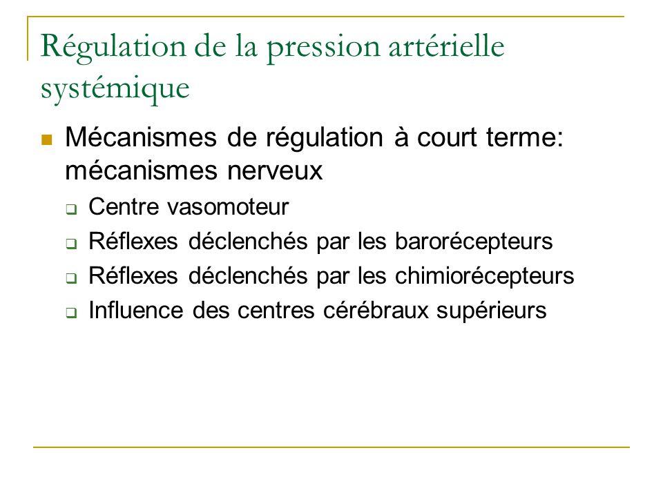 Régulation de la pression artérielle systémique Mécanismes de régulation à court terme: mécanismes nerveux Centre vasomoteur Réflexes déclenchés par les barorécepteurs Réflexes déclenchés par les chimiorécepteurs Influence des centres cérébraux supérieurs