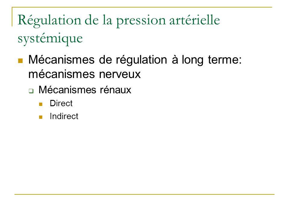 Régulation de la pression artérielle systémique Mécanismes de régulation à long terme: mécanismes nerveux Mécanismes rénaux Direct Indirect