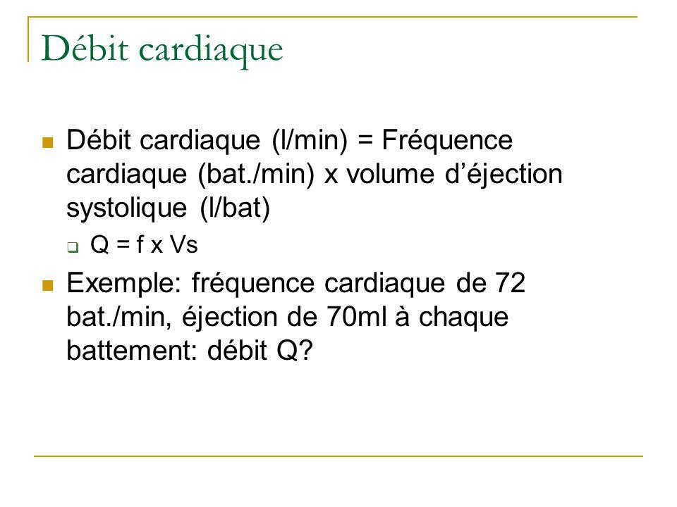 Débit cardiaque Débit cardiaque (l/min) = Fréquence cardiaque (bat./min) x volume déjection systolique (l/bat) Q = f x Vs Exemple: fréquence cardiaque de 72 bat./min, éjection de 70ml à chaque battement: débit Q?