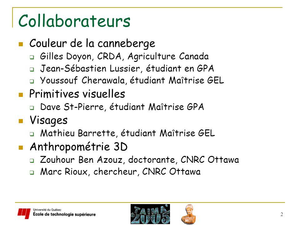 2 Collaborateurs Couleur de la canneberge Gilles Doyon, CRDA, Agriculture Canada Jean-Sébastien Lussier, étudiant en GPA Youssouf Cherawala, étudiant