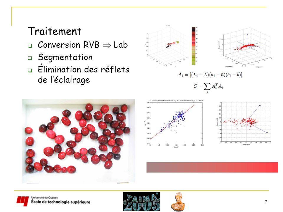 7 Traitement Conversion RVB Lab Segmentation Élimination des réflets de léclairage