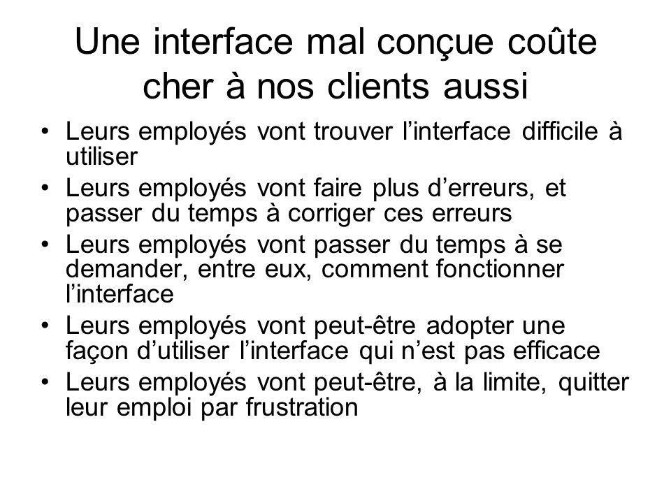 Une interface mal conçue coûte cher à nos clients aussi Leurs employés vont trouver linterface difficile à utiliser Leurs employés vont faire plus der