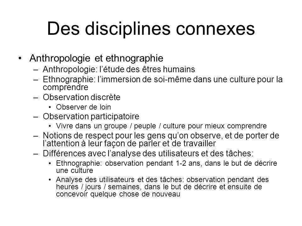 Des disciplines connexes Anthropologie et ethnographie –Anthropologie: létude des êtres humains –Ethnographie: limmersion de soi-même dans une culture