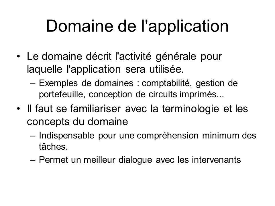 Domaine de l'application Le domaine décrit l'activité générale pour laquelle l'application sera utilisée. –Exemples de domaines : comptabilité, gestio