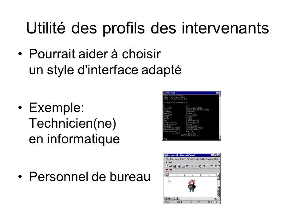 Utilité des profils des intervenants Pourrait aider à choisir un style d'interface adapté Exemple: Technicien(ne) en informatique Personnel de bureau